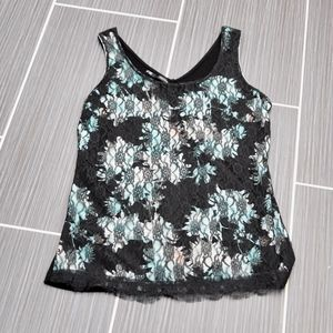 Maurice Black Lace Overlay Tank Size M